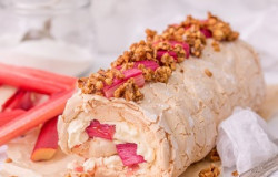 Rhubarb Meringue Roulade with Salted Hazlenut Brittle